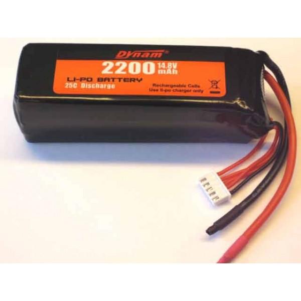 Batería Lipo 14.8vol y 2200mha 25C Descarga Dynam