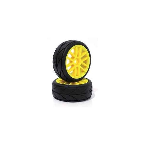 Neumáticos de goma con llanta BLANCAS 1/10 touring 26mm
