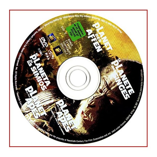DISCO ORIGINAL EXTRA DVD EL PLANETA DE LOS SIMIOS